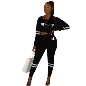 Wholesale Black Big C Letter Print Ladys Bare Midriff 2pcs Sexy Women Casual 2 Piece Pants Suit