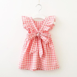 Wholesale New Summer Dress for baby girl Plaid Backless Ruffle Sleeve Back bowknot Cross Cotton Pink Blue Girl Gift Boutique