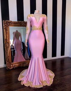 2019 Sexy Prom Dresses with Gold Lace Appliqued Mermaid deep v neck for party Long custom made backless 2K19 Pageant Evening Wear Gowns on Sale
