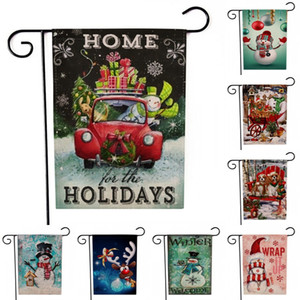 Wholesale Free DHL Home Decor Merry Christmas Garden Flag Xmas House Yard Flags Vintage Seasonal Outdoor Banners x18 inch for Holiday Banner M785F