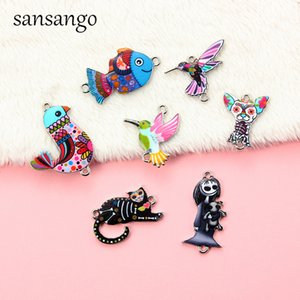 Wholesale Cute Cartoon Animal Enamel Alloy Connectors Necklace Pendant For Handmade Jewelry Gift Cat Fish Owl Multi Shape
