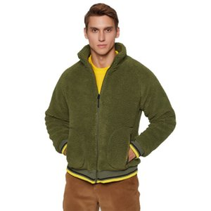 Wholesale Ins Brand Black Green Gray winter Round neck cardigan lamb wool fashionable clashing colour zipper hoodie men's cardigan Thicken jacket