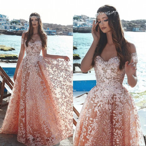 Wholesale Pink Floral Embellished Lace Arabic Prom Dresses Fashion Off the Shoulder A Line Princess Beaded Tulle Formal Evening Gowns