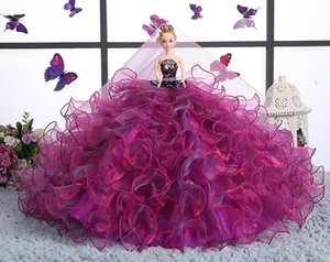 Wholesale Violet Colour Wedding Dress Cling To Than Doll Tailing Single Bride Princess Toys Girl Birthday Gift