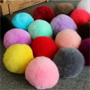Wholesale 6cm Fluffy Rabbit Fur Pom Pom Ball Keychain Women Trinket Bag Phone Key Chain Ring Car Key Holder floating Charm DIY Accessories