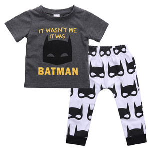 kinder batman hemden großhandel-Cartoon Neugeborene Kinder Baby Kleidung Batman T Shirt Tops Hosen Outfits Set