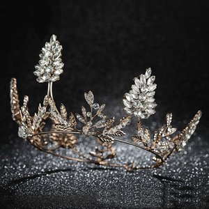 Wholesale FORSEVEN New Design Delicate Wedding Jewelry Sets Gold Metal Crystal Full Round Tiaras Crowns Pendant Earring Eardrop