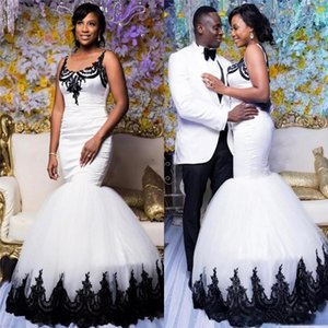 Wholesale African Trumpet White Long Wedding Dresses With Black Appliques Lace Tank Sheer Scoop Neck Mermaid Bridal Gowns Custom Made Marriage Dress