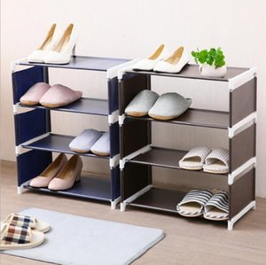 Wholesale Creative shoe rack fabric home assembly shoe rack Living room bedroom solid color simple non woven shoe storage rack