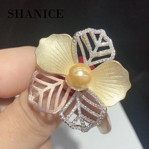 SHANICE High-grade three-color frosted flower brooch cz crystal female fashion winter jacket fine jewelry pearl brooch scarlf