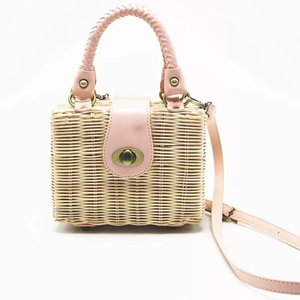 Wholesale Unique Lovely Ladies Candy Colored Straw Beach Rattan Bag