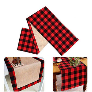 Wholesale Christmas Table Runner plaid Table Flag Cloth Cover Xmas Dining Home Party Decor Desk Cover Cloth LJJK1911