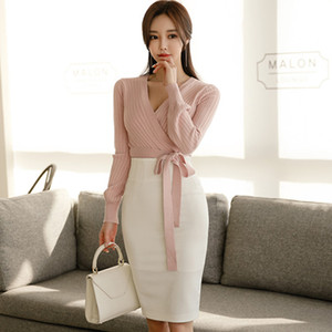 Wholesale 2019 Spring V Neck Long Sleeve Sashes Knitted Sweater Top White Pencil Bodycon Skirt Two Piece Casual Set Dress