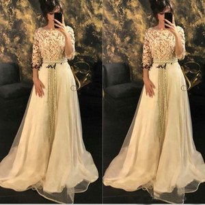 Wholesale Modest Half Sleeve Long Formal Evening Dresses Morrocco Jellaba Caftan D Flowers Prom Party Gowns African Caftan Wear Custom Size