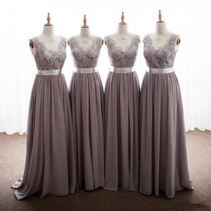 2019 Country Bridesmaid Dresses A Line Sweetheart Lace Chiffon Bow Sash Wedding Guest Dresses Floor Length Maid Of Honor Gowns on Sale