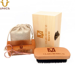 MOQ 100pcs 4 in 1 OEM Customize LOGO Men Beard Care Kits Wood Hair Combs Beard Brush Steel Scissors in Wooden Box & Bag