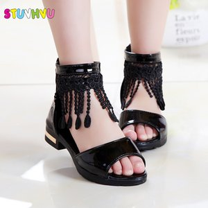 Wholesale Summer Roman For Girls Tassel Lace Kids Sandals New Fish Mouth Princess Shoes Black White Pink Size Fashion Q190601