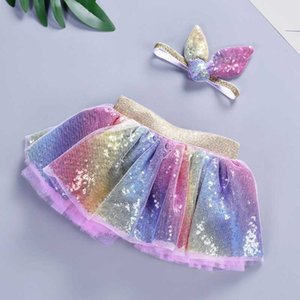 Wholesale 2019 Baby Girls Rainbow TUTU Skirt Set Headband Tutu Skirt Rainbow Tutus Birthdays Party Tutus Skirt Girls Pettiskrit Cloth C31