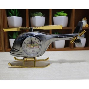 Wholesale Table Clocks Creative Coffee Shop Helicopter Model Decor Retro Random Clock Face Pattern Send Alarm Clocks Home Decoration Alarm DH0811