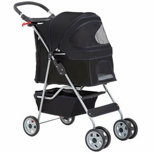 4 Wheels Pet Stroller Cat Dog Cage Stroller Travel Folding Carrier black