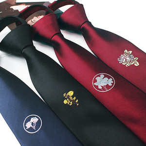 5cm personalized embroidery tie Narrow flower embroidery wedding tiger head Men's version of narrow tide zipper
