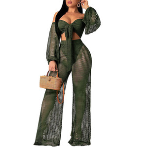 Wholesale Sexy Club Two Piece Set Women Clothes Fishnet Corp Top and Pants Matching Sets See Through Summer Beach Outfits