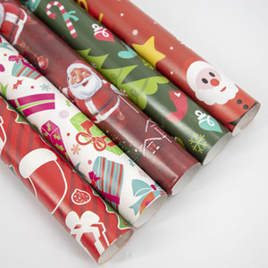 Merry Christmas Packaging Paper Rectangle Creative Bell Elk Santa Claus Prints Children Gifts Wrapping Paper Fit Xmas Festival Party Supply