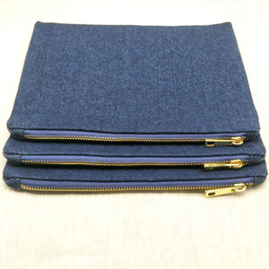 Wholesale denim makeup bag resale online - 1pc oz thick denim cotton makeup bag with metal zip true red lining blank x10in denim cosmetic bag stock available factory directly