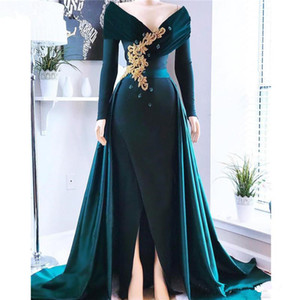 Dark Green Long Sleeves Satin A Line Evening Dresses Applique Beaded Stones Split Sweep Train Prom Party Dresses Plus Size on Sale