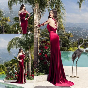 Wholesale New Sexy Burgundy Mermaid Prom Dresses High Side Split One Shoulder Lace Long Sleeve Formal Evening Gowns Party ogstuff Abendkleider