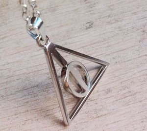 Harry Style Jewelry Stainless Steel Deathly Hallows Pendant Necklace Movie Trendy Jewelry Long Chain Triangle Necklace