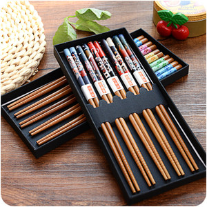 Hot Sale 5 Double Sets of Japanese-style Bamboo and Wooden Chopsticks Portable Tableware Boutique Box CNE Fast Shipping