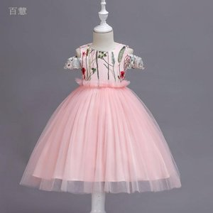 Wholesale Children s clothing Girls Wedding Pageant Party Dresses Princess Formal Prom Gowns Embroidered Mesh Tutu Dress Summer New