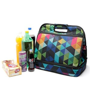 Large double bag Oxford cloth aluminum film insulation outdoor portable lunch box bag refrigerated fresh colder lunch
