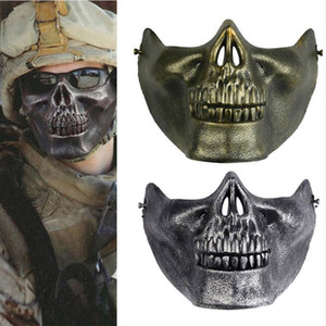 airsoft schädel halb gesichtsmaske großhandel-Airsoft Maske Halloween Schädel Mascara Party Scary Masken Maskerade Cosplay Horror Maske Half Face Mund Masque Armee Spiele Maska