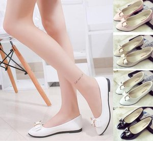 Wholesale Women s dress shoes spring new patent leather bow shallow mouth women s shoes pointed low heeled flat work shoes