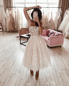 2020 New A Line Tea Length Lace Cocktail Party Dresses Women Sweet 16 Dresses Summer Beach Prom Gowns Cocktailkleid Evening Gowns