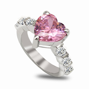 Wholesale pink rings resale online - SHUNXUNZE dropshipping Engagement Wedding fashion rings Love Heart Jewelry For Women Punk Pink Cubic Zirconia Rhodium Plated R150 size