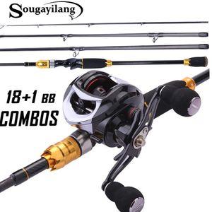 Sougayilang Fishing Rod Set Baitcasting Fishing Rod and Reel Travel Portable Tackle Kits for Freshwater Saltwater