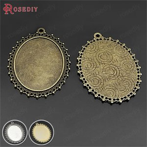 Wholesale 10PCS Inside x30MM Antique Bronze Zinc Alloy Oval Base Trays Bezels Cabochon Beads Settings Cameo Settings Pendants Findings