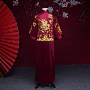 Wholesale New arrival male cheongsam Chinese style costume the groom dress jacket long gown traditional Chinese wedding dress men