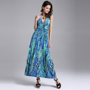 Wholesale Women Casual Dress Transparent Sexy Expansion V High Waist Strap Cross Fashion Backless Print Maxi Green Yellow Floral Dress