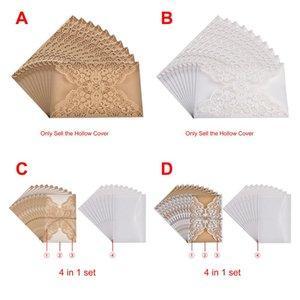 Wholesale 10pcs European Laser Cut Wedding Invitations Card Elegant Lace Business Greeting Cards Birthday Wedding Party Favor Decoration