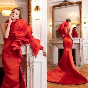 2019 Elegant One Shoulder Red Evening Dresses Ruffles Tiered Organza Mermaid Side Split Formal Occasion Prom Party Dresses Custom Made on Sale