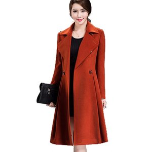 Wholesale 2016Women autumn winter woolen coat new Korean version long paragraph Slim pure color double breasted big skirt wool coat A140