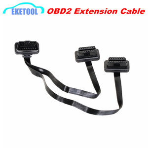 Wholesale OBDII Extension Dual Connector Y Splitter OBD OBD2 PIN Male to Female Connection Flat Thin as Noodle ELM327