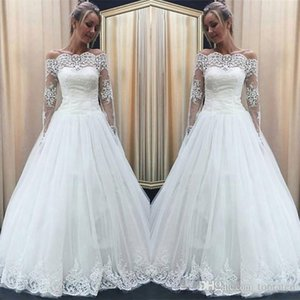 Wholesale simple elegant vintage lace wedding dresses resale online - 2020 Elegant Lace Appliques Beach Country Wedding Dresses Off Shoulder Long Sleeves Simple Plus Size Bridal Gowns Cheap Vintage