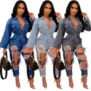 Wholesale Fashionable Holes Ripped Women Jeans Jumpsuits Blue Black Sexy Long Sleeves Buttons V Neck Sash Washed Denim Straight Pants Rompers
