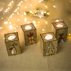 Christmas Candlestick Decoration Christmas Creative Gifts Decoration Mini Wooden Candlestick Home Decor Christmas Tree Elk Gift box Letter