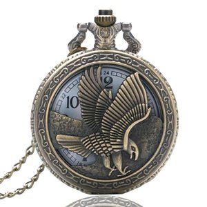 Wholesale ViVintage D Flying Eagle Cover Quartz Pocket Watch Bronze Hawk Wing Necklace Chain Clock Souvenir Gifts for Men Women